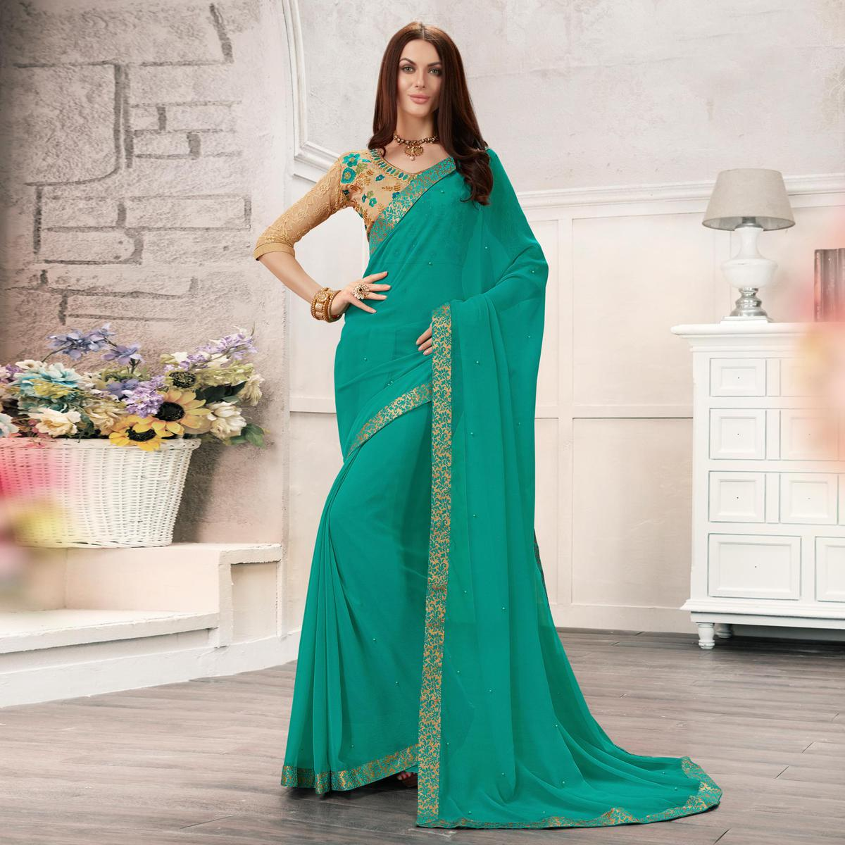 Turquoise Blue Colored Embroidered Work Blouse Party Wear Chiffon Saree