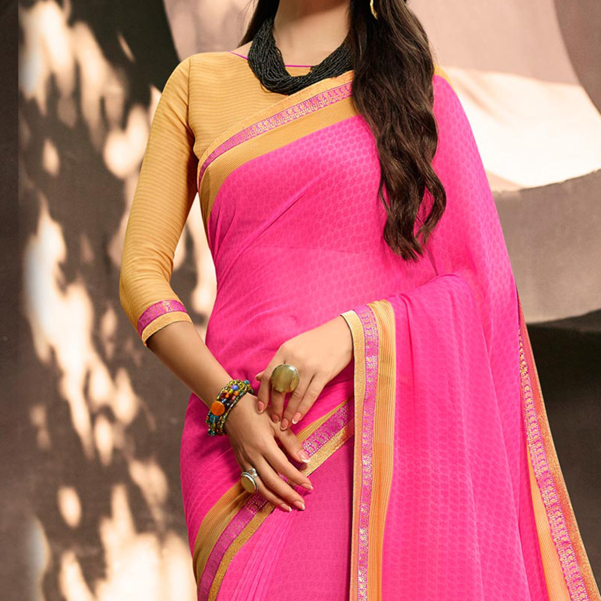 Lovely Pink Partywear Georgette Saree