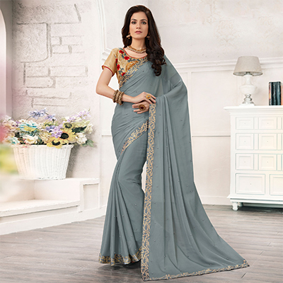 Grey Colored Embroidered Work Blouse Party Wear Chiffon Saree