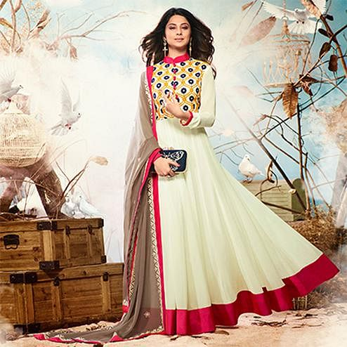 Cream Colored Embroidered Work Party Wear Georgette Anarkali Suit