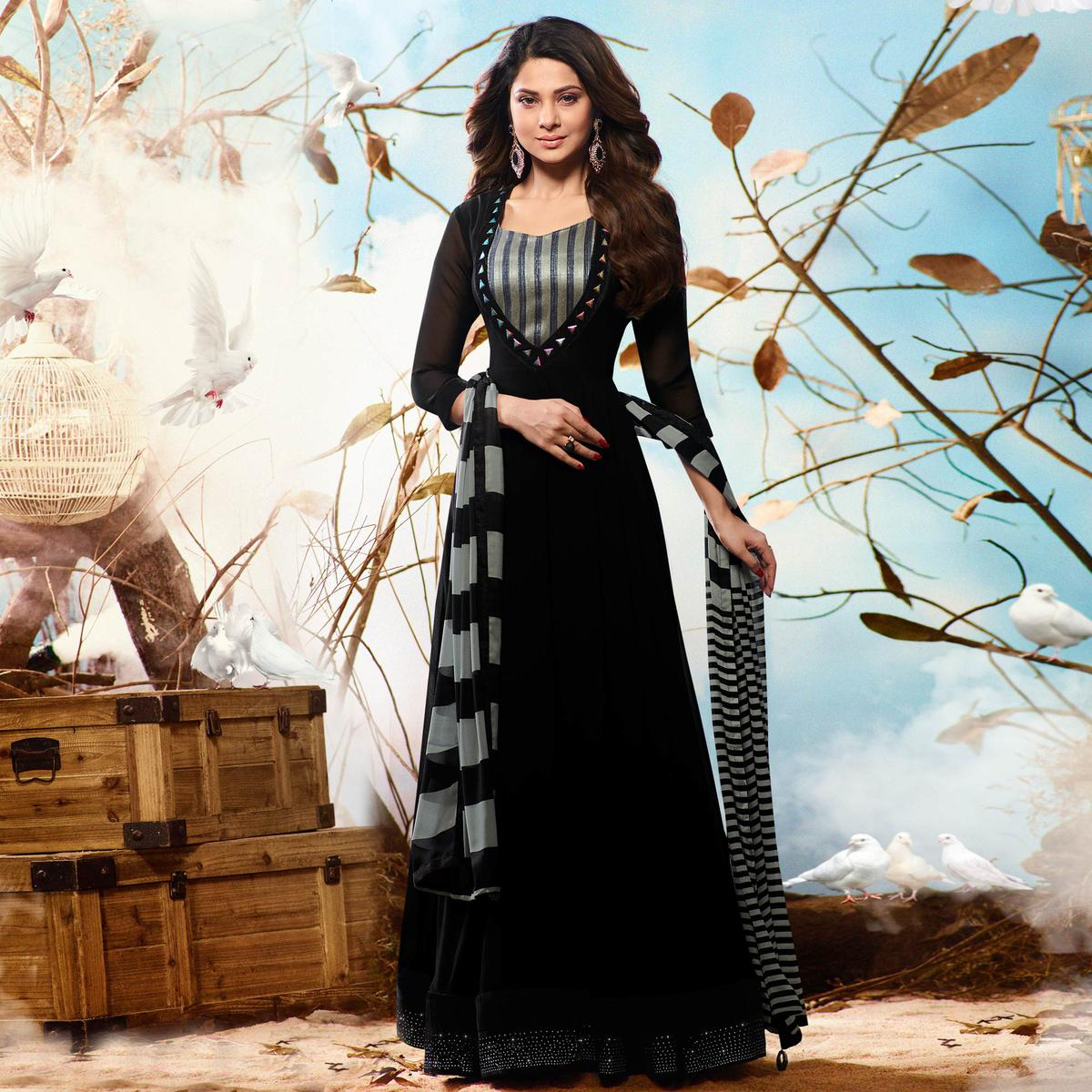 Black Colored Embroidered Work Party Wear Georgette Anarkali Suit