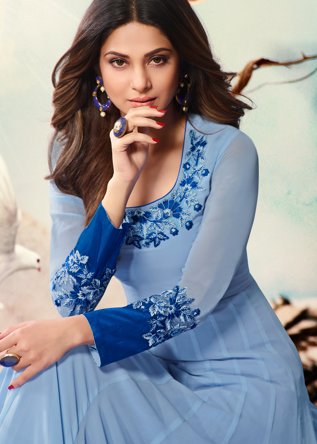 Sky Blue Colored Embroidered Work Party Wear Georgette Anarkali Suit