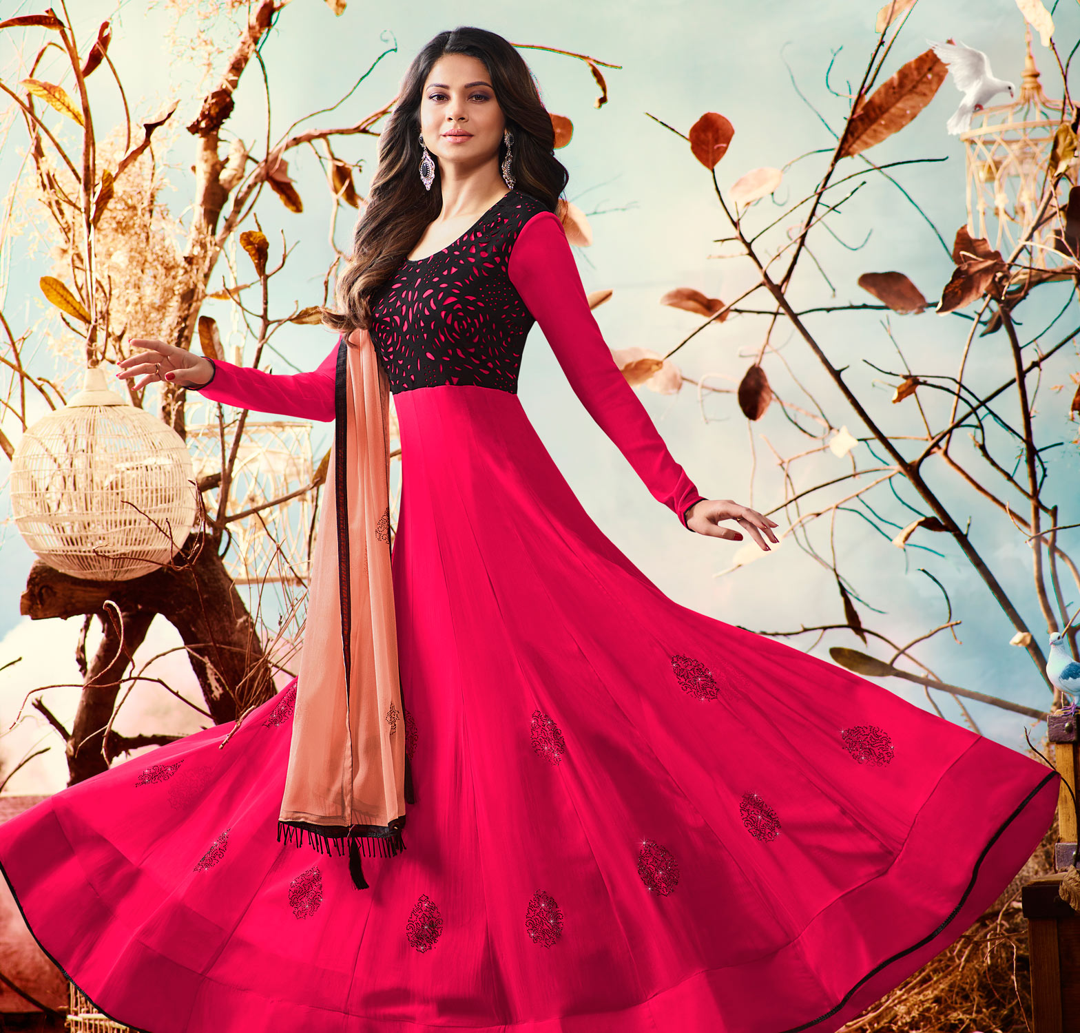 Hot Pink Colored Embroidered Work Party Wear Georgette Anarkali Suit