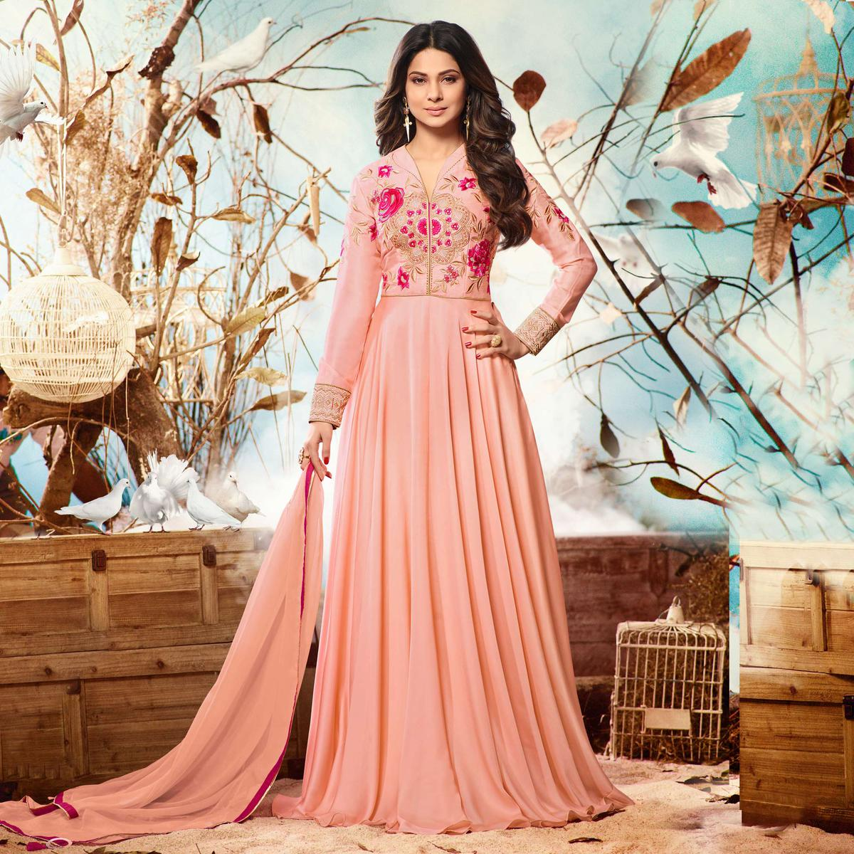 Peach Colored Embroidered Work Party Wear Satin Silk Anarkali Suit