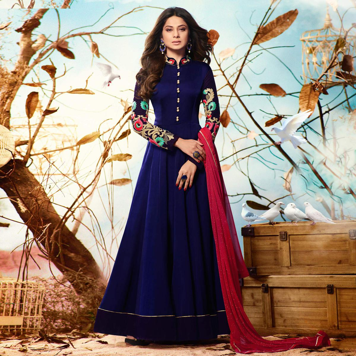 Navy Blue Colored Embroidered Work Party Wear Georgette Anarkali Suit