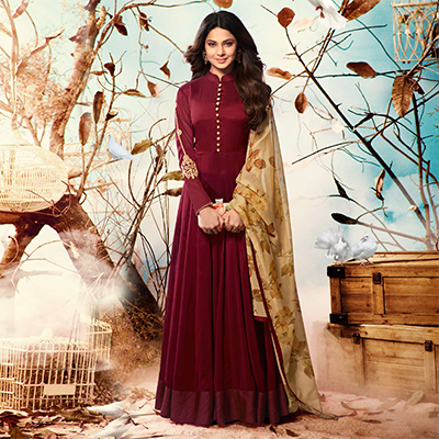 Maroon Colored Embroidered Work Party Wear Georgette Anarkali Suit