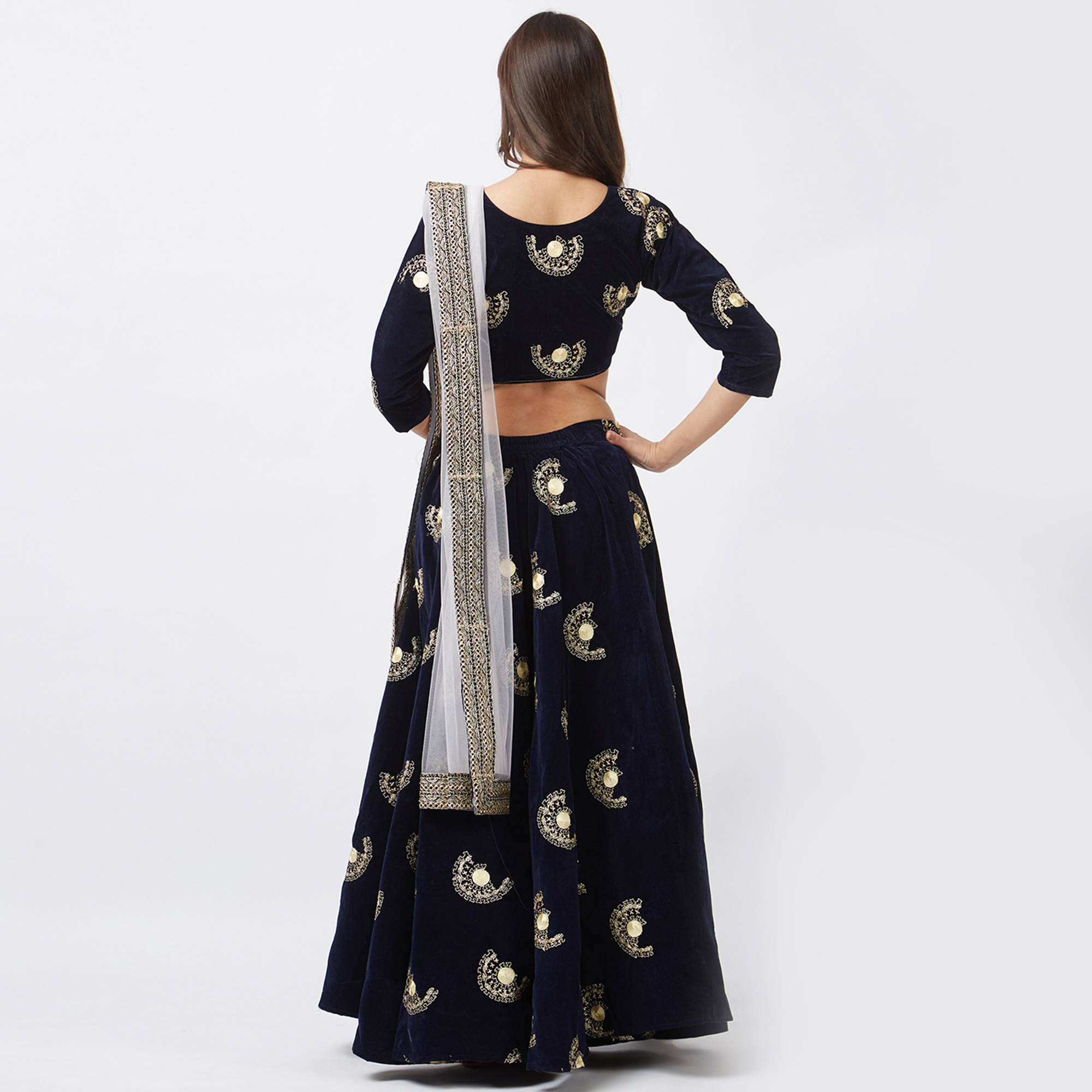 Impressive Navy Blue Colored Designer Embroidered Tapeta Velvet Lehenga Choli