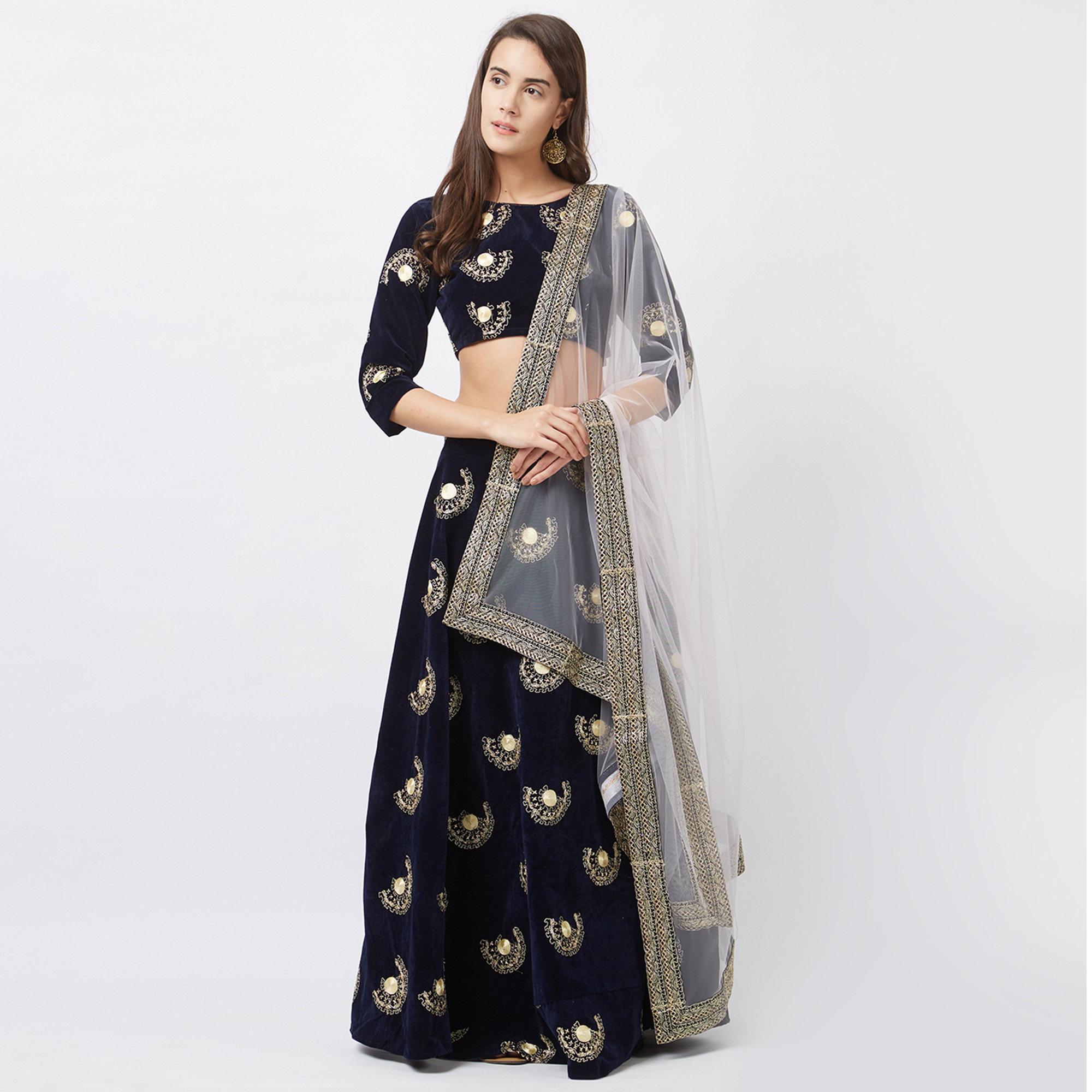 42892bc96b Impressive Navy Blue Colored Designer Embroidered Tapeta Velvet Lehenga  Choli