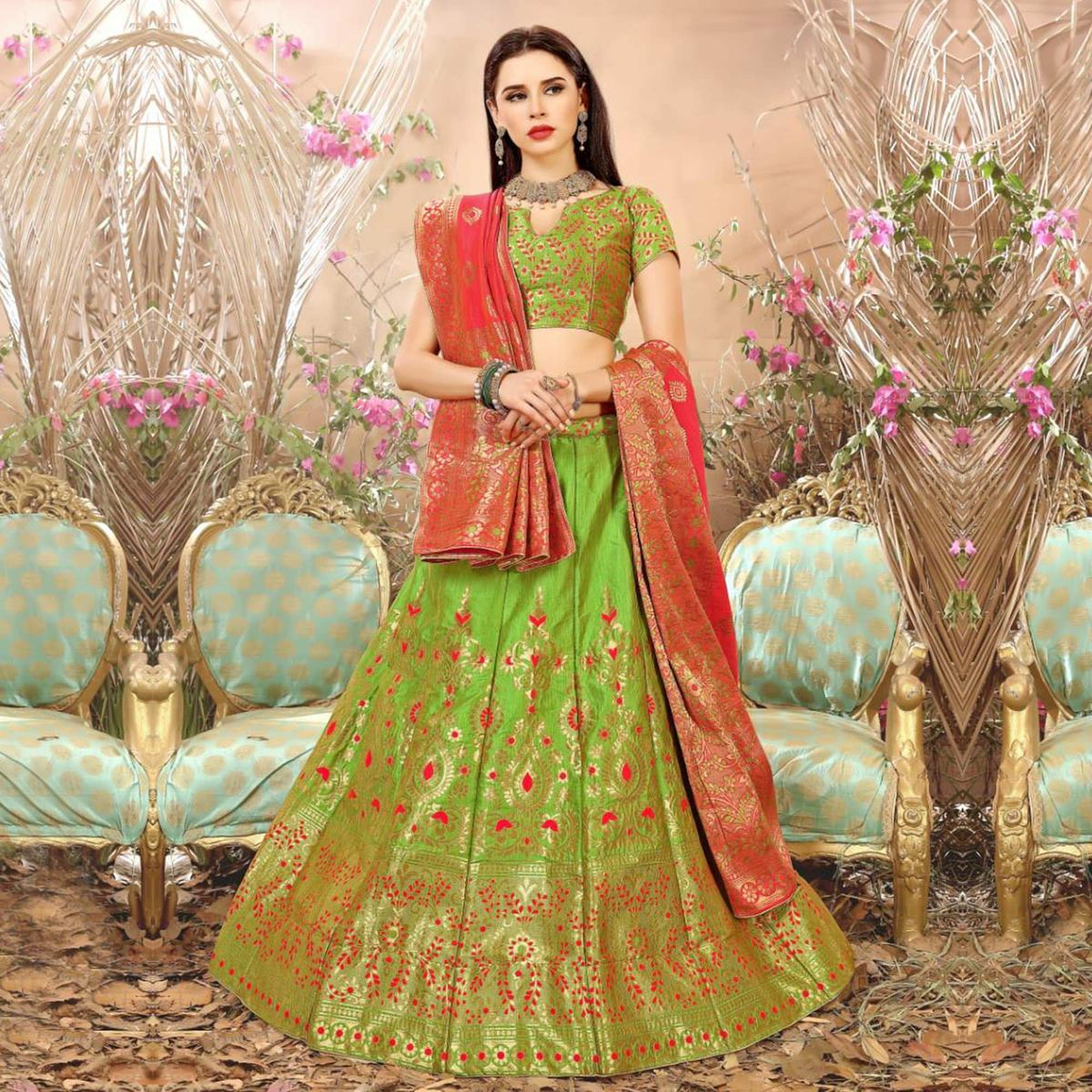 Attractive Green Colored Festive Wear Woven Banarasi Silk Jacquard Lehenga Choli