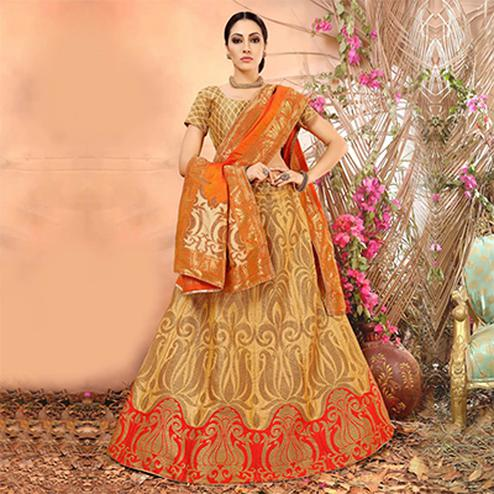 Light Orange Colored Festive Wear Woven Banarasi Silk Jacquard Lehenga Choli