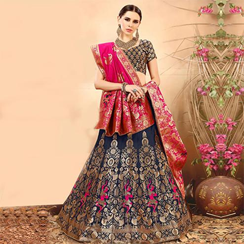 Refreshing Navy  Blue Colored Festive Wear Woven Banarasi Silk Jacquard Lehenga Choli