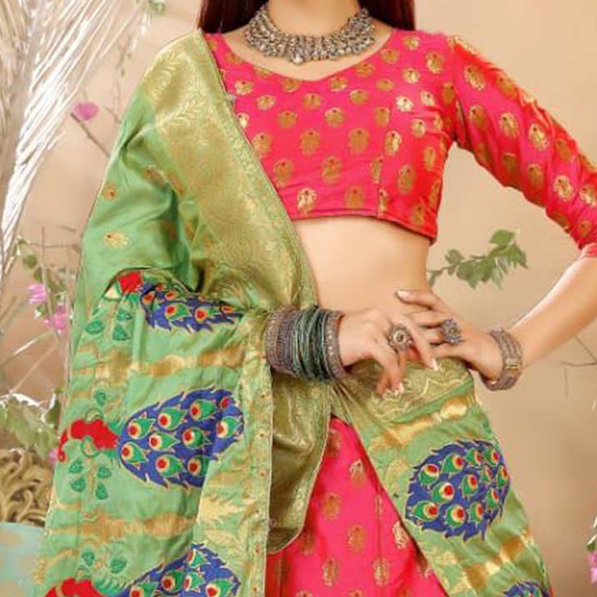 Eye-Catching Peach Colored Festive Wear Woven Banarasi Silk Jacquard Lehenga Choli