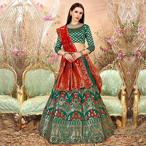 Unique Rama Green Colored Festive Wear Woven Banarasi Silk Jacquard Lehenga Choli