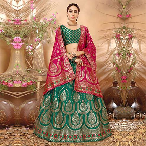 Majestic Rama Green Colored Festive Wear Woven Banarasi Silk Jacquard Lehenga Choli