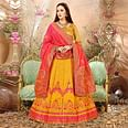 Glowing Yellow Colored Festive Wear Woven Banarasi Silk Jacquard Lehenga Choli
