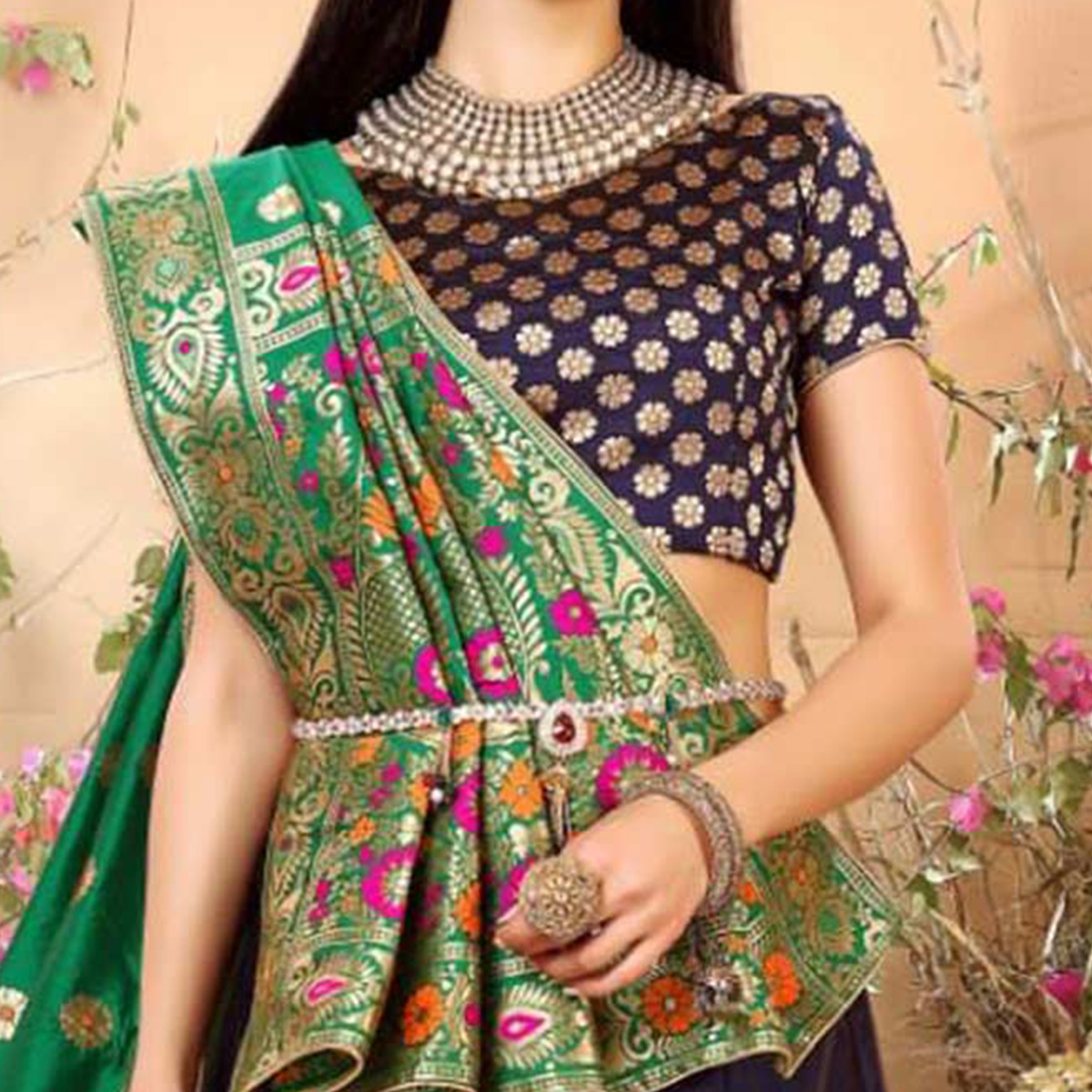 Gorgeous Navy Blue Colored Festive Wear Woven Banarasi Silk Jacquard Lehenga Choli