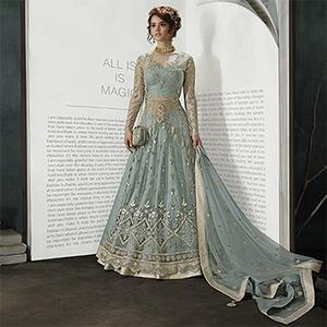 Adorable Grey Partywear Designer Embroidery Pastel Pink Mono Net Anarkali Suit
