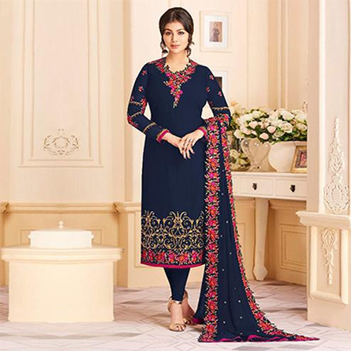 Elegant Navy Blue Colored Designer Embroidered Georgette Suit