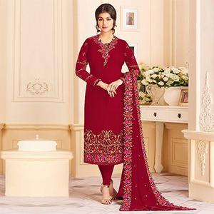 Alluring Red Colored Designer Embroidered Georgette Suit