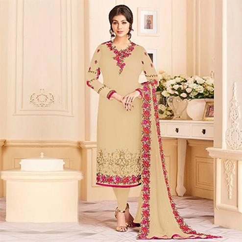 Radiant Beige Colored Designer Embroidered Georgette Suit