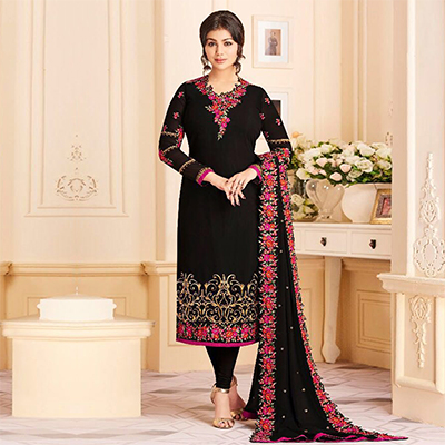 Sensational Black Colored Designer Embroidered Georgette Suit