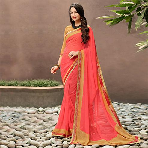 Trendy Peach Partywear Georgette Saree