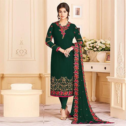Opulent Green Colored Designer Embroidered Georgette Suit