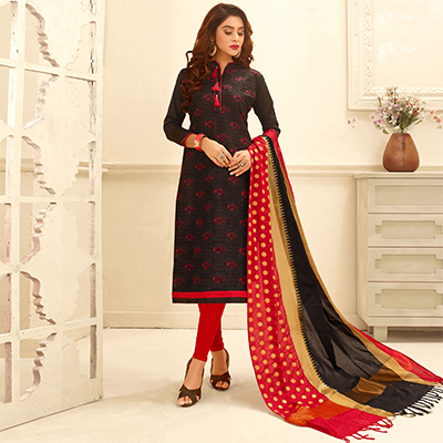 Beautiful Black Colored Partywear Embroidered Cotton Suit With Pure Banarasi Silk Dupatta
