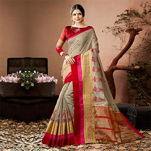 Adorable Grey Colored Embroidered Festive Wear Cotton Silk Saree
