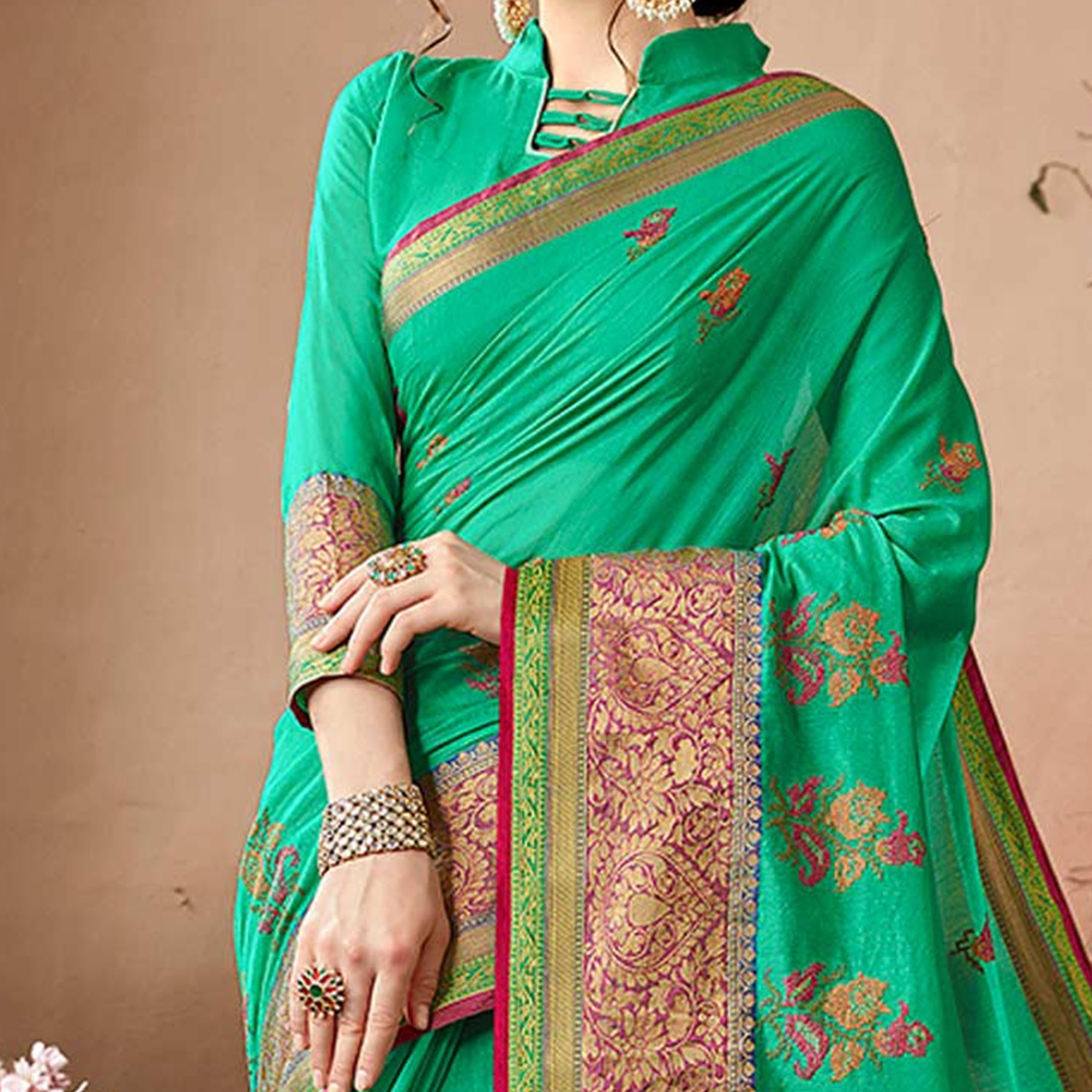 Attractive Sea Green Colored Embroidered Festive Wear Cotton Silk Saree