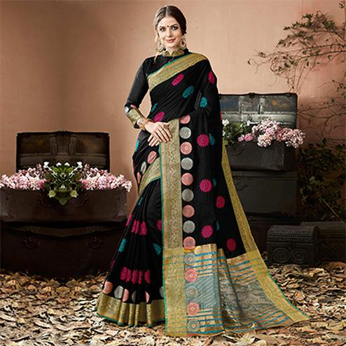 Beautiful Black Colored Embroidered Festive Wear Cotton Silk Saree