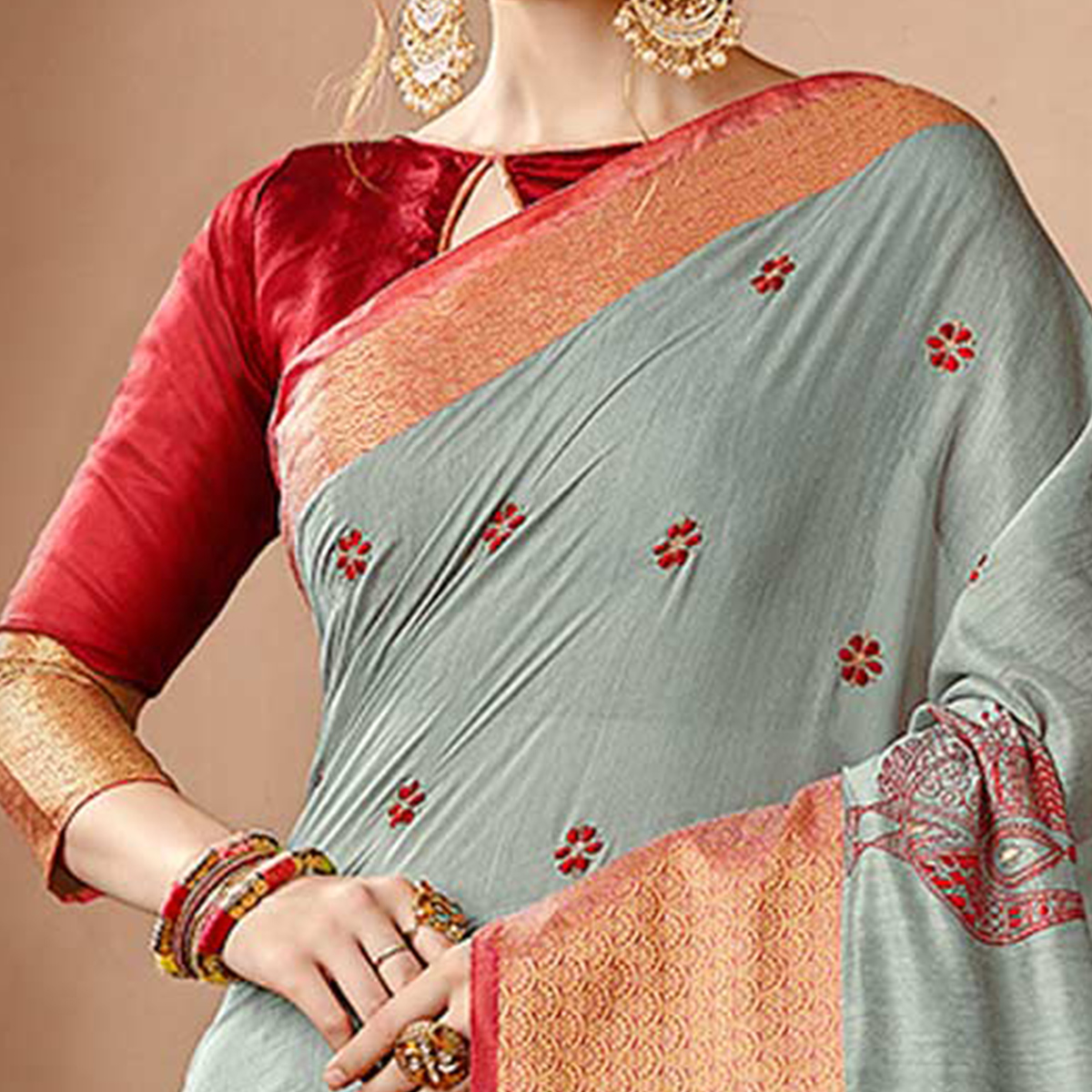 Gorgeous Grey Colored Embroidered Festive Wear Cotton Silk Saree