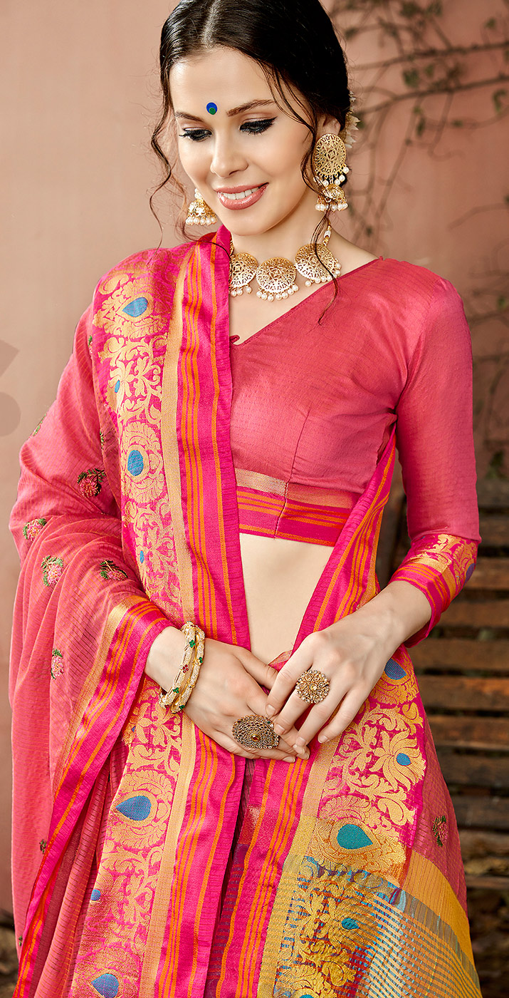 Classy Pink Colored Embroidered Festive Wear Cotton Silk Saree