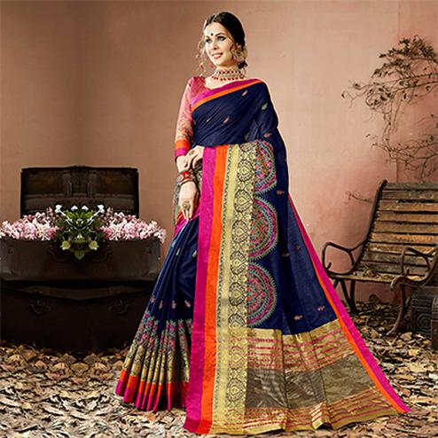 Glorious Navy Blue Colored Embroidered Festive Wear Cotton Silk Saree
