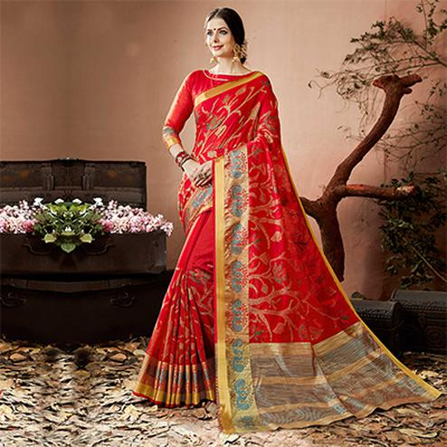 Graceful Red Colored Embroidered Festive Wear Cotton Silk Saree