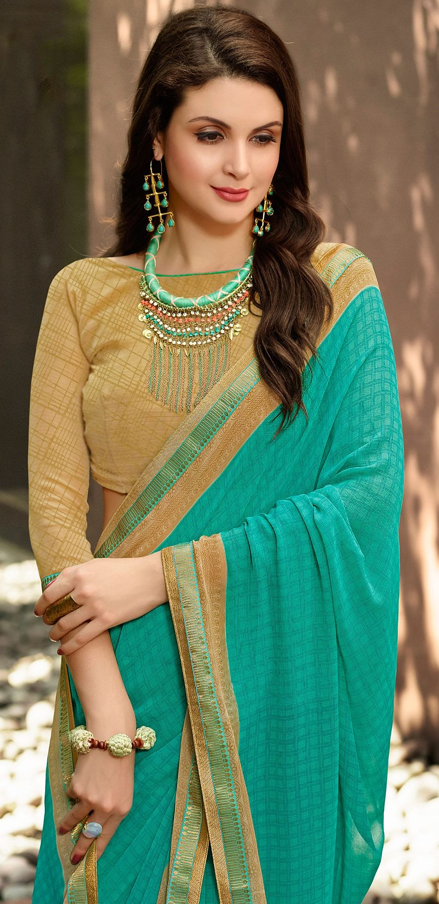 Classy Green Partywear Georgette Saree