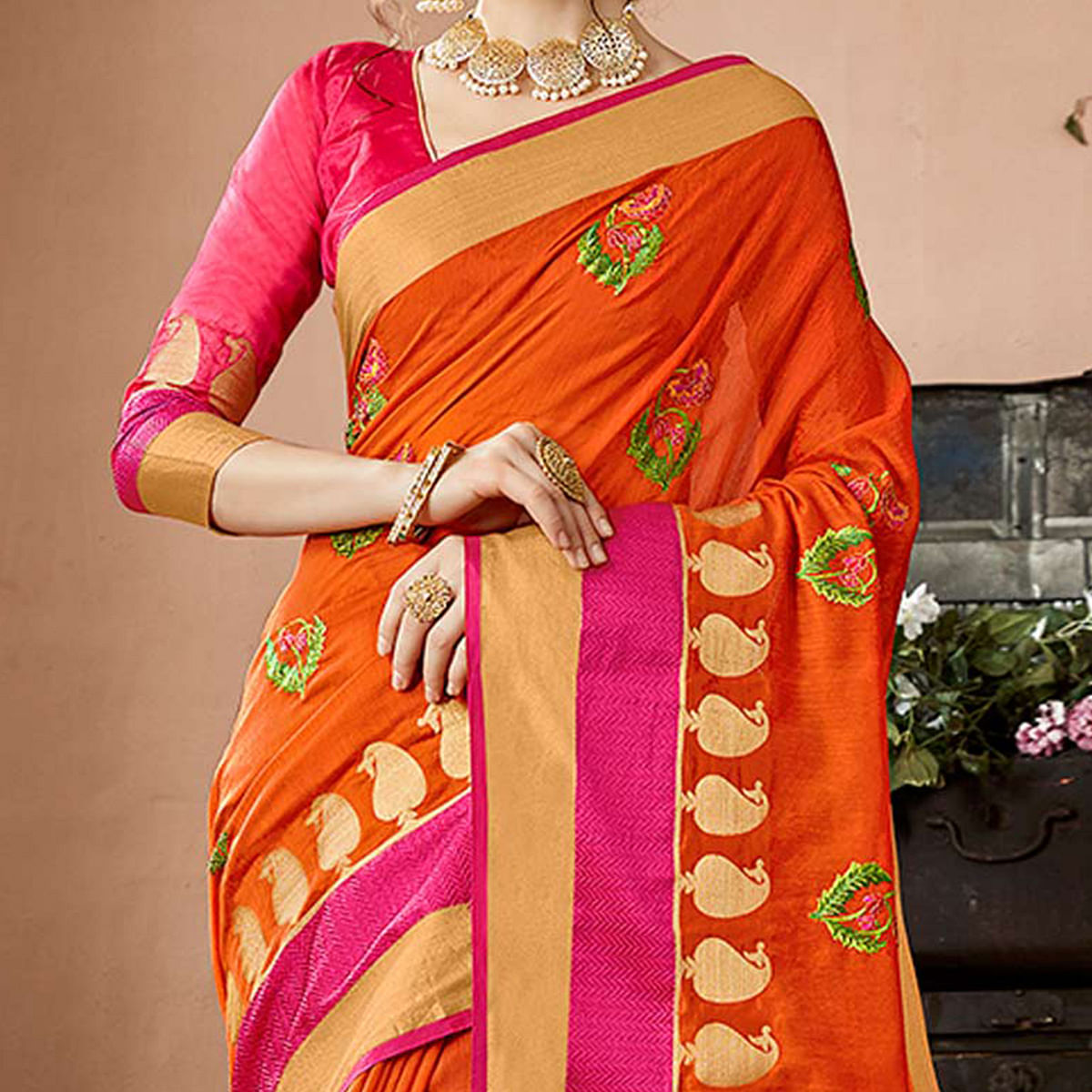 Ravishing Orange Colored Embroidered Festive Wear Cotton Silk Saree