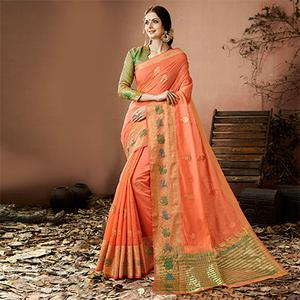 Stunning Peach Colored Embroidered Festive Wear Cotton Silk Saree