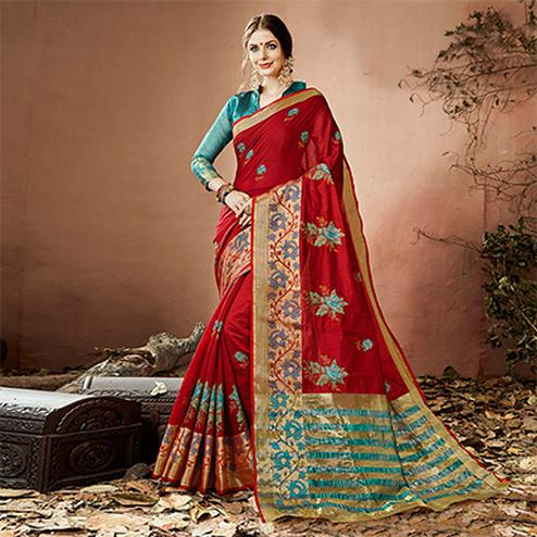 Blooming Maroon Colored Embroidered Festive Wear Cotton Silk Saree