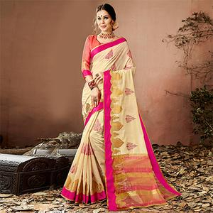 Mesmerising Cream Colored Embroidered Festive Wear Cotton Silk Saree