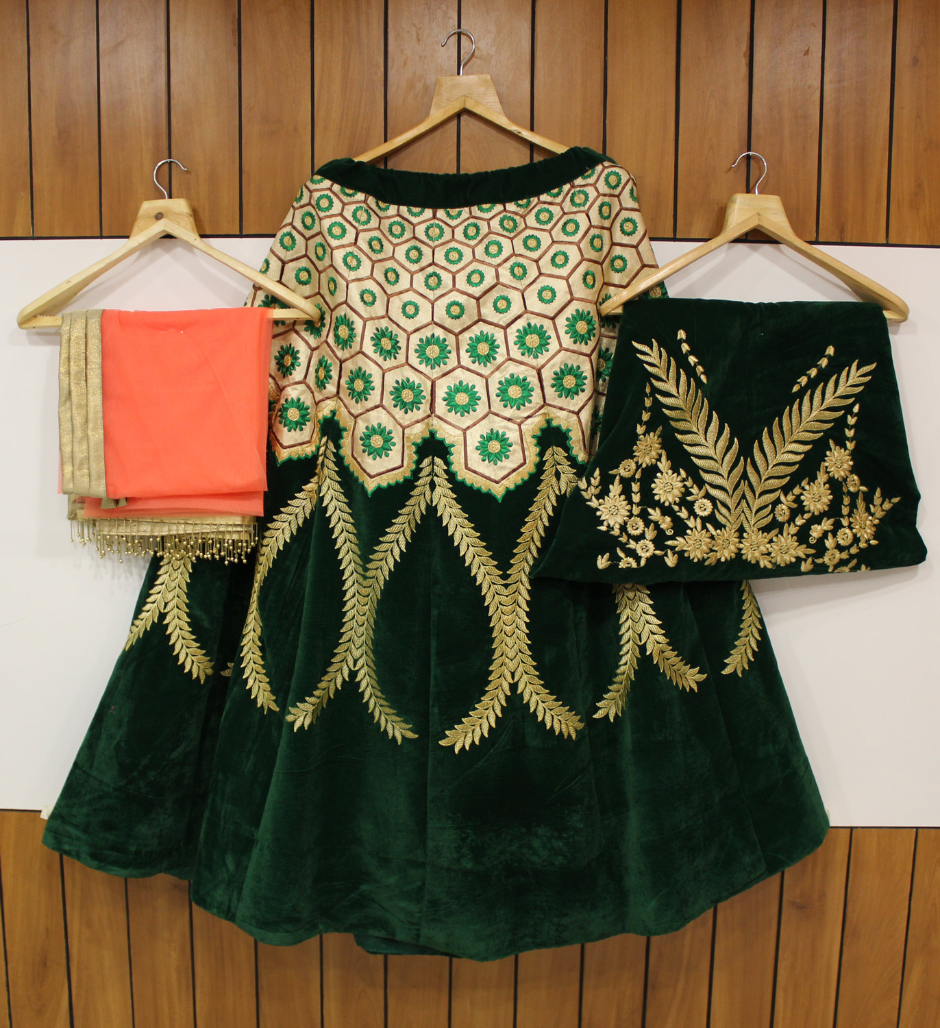 Designer Dark Green-Beige Colored Wedding Wear Embroidered Velvet Lehenga Choli