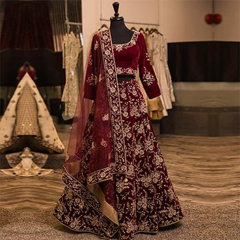 Designer Maroon Colored Wedding Wear Embroidered Velvet Lehenga Choli