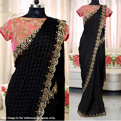 Alluring Black Colored Designer Partywear Jacquard Cotton Saree