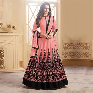 Adorable Pink Colored Designer Embroidered C-N Tapeta Silk Anarkali Suit