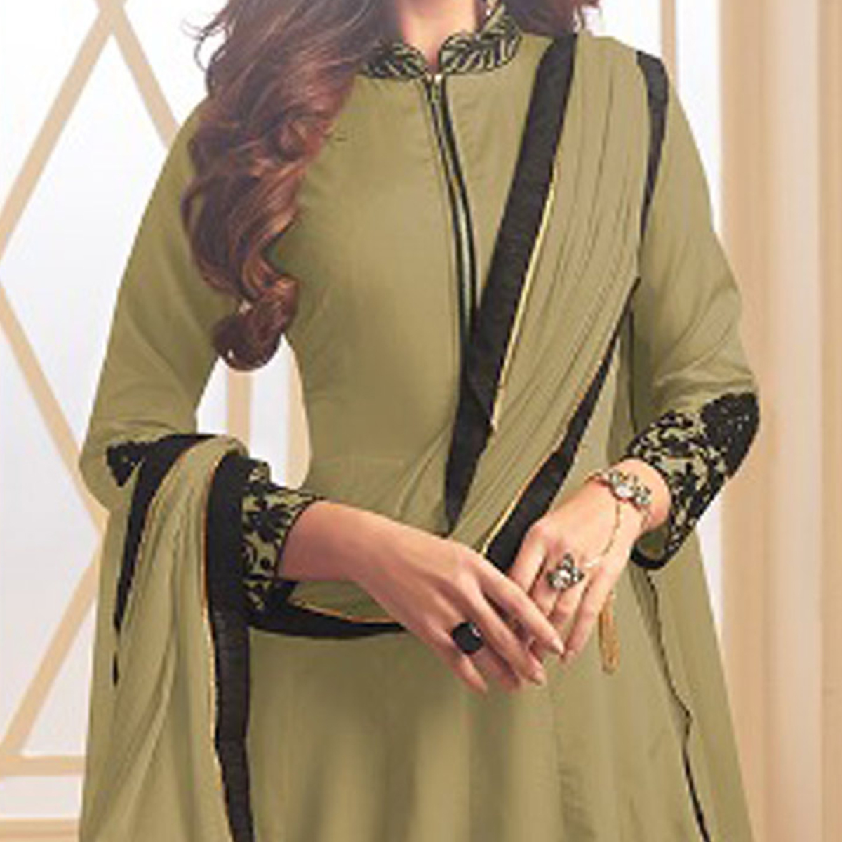 Demanding Olive Green Colored Designer Embroidered C-N Tapeta Silk Anarkali Suit
