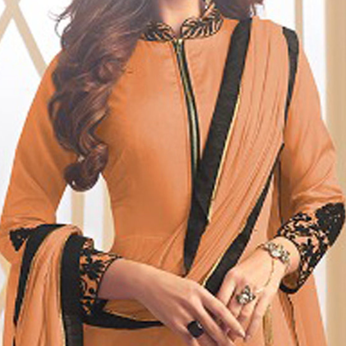 Alluring Orange Colored Designer Embroidered C-N Tapeta Silk Anarkali Suit