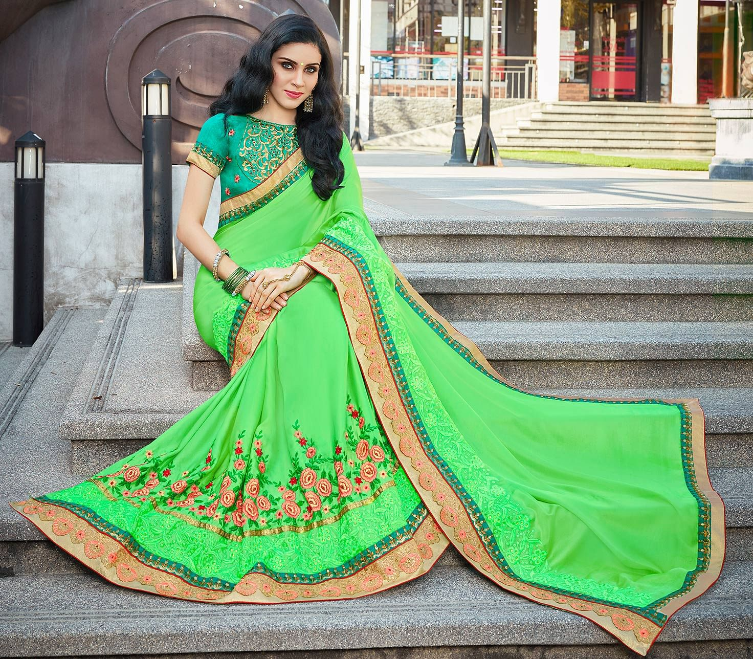 Gorgeous Green Designer Embroidered Partywear Silk Saree