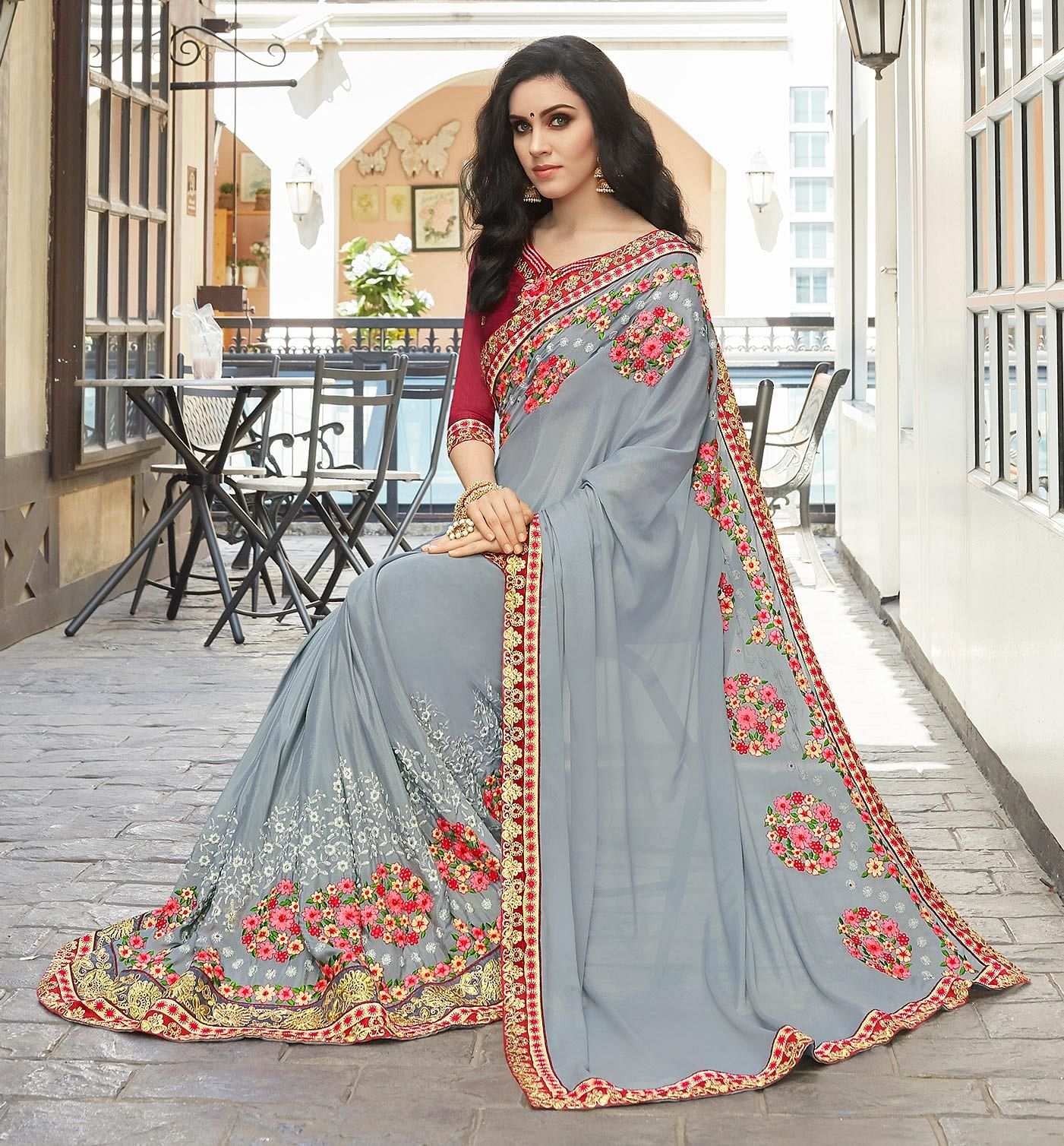 Mesmerising Gray Designer Embroidered Partywear Silk Georgette Saree