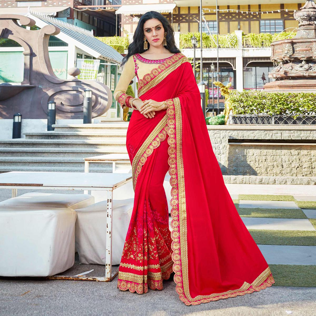 Lipstick Red Designer Embroidered Partywear Sana Silk Saree