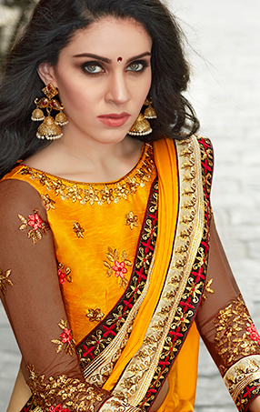 Mystic Yellow Designer Embroidered Partywear Satin Silk Saree